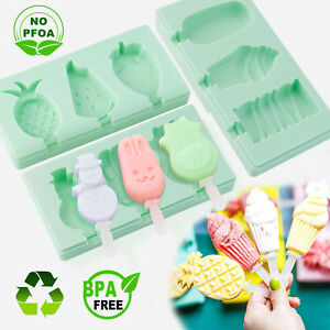 Silicone Ice Cream Mold with Lid DIY Snowman Fruit Ice Pop Maker Popsicle Mould