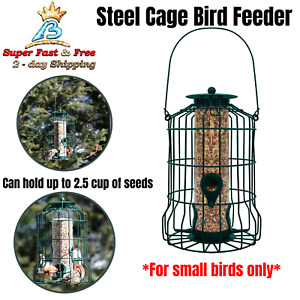 Squirrel Proof Bird Feeder Hanging Cage Seed Food Outdoor Small Wild Garden Yard