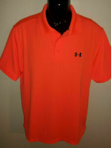 Men's Under Armour Playoff Neon Orange Short Sleeve Golf Polo Size L 1242755 $9.99