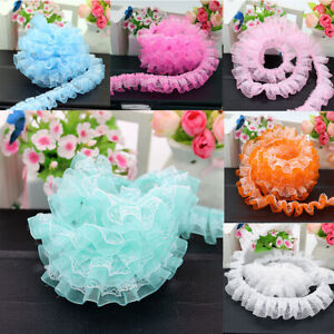 Ribbon Tulle DIY Layer Pleated Ruffle Width 1.96#x27;#x27; Double Trim 2yds Lace Sewing $1.86