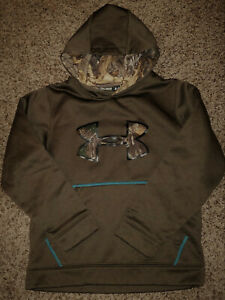 Under Armour UA STORM Boys ColdGear Loose Fit Hoodie Youth Medium Brown Camo $17.50