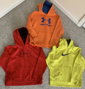 Boys lot of 3 Hoodies Nike Under Armour Youth XL Extra Large sweatshirts $25.00