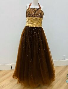 cheap prom dress size 12 brown gold ballgown sequin gold beaded tulle full skirt