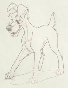 1955 WALT DISNEY LADY AND THE TRAMP ORIGINAL PRODUCTION ANIMATION DRAWING CEL $750.00