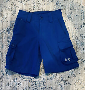 Under Armour Boys Golf Cargo Shorts Blue Loose Fit Size Youth X Small $4.50