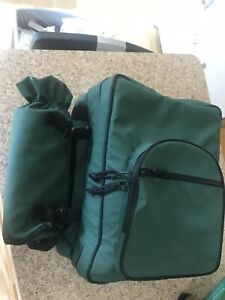 Timberland Picnic at Ascot Green Picnic Backpack Set For 4 -New - Wine Holder