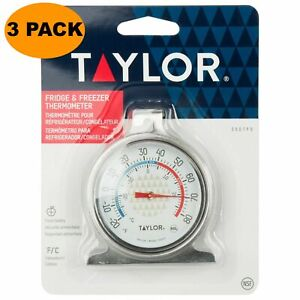 NEW TAYLOR 3507 STAINLESS FRIDGE & FREEZER THERMOMETER (NSF) ORIGINAL PACKAGE
