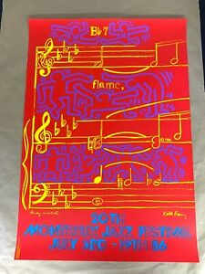 KEITH HARING ANDY WARHOL MONTREUX JAZZ FESTIVAL 1986 Poster Print Plate Signed $250.00