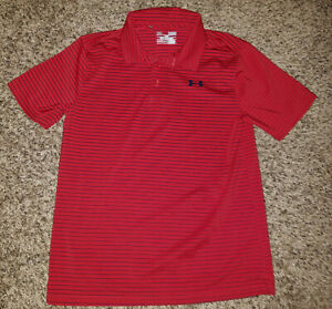 Under Armour Boys S S HeatGear Loose Fit Polo Shirt YLG Youth Large Red Navy $14.99