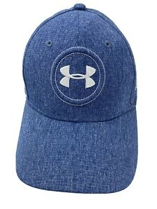 Under Armour Golf Blue Silver Fitted M L Adult Baseball Ball Cap Hat $11.99