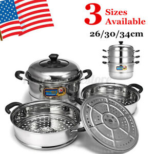3 Tier Stainless Steel Steamer Steam Pot Cooker Cookware with Glass Lid 26-34cm