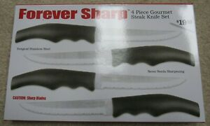 Forever Sharp 4 Piece Gourmet Steak Knife Set Stainless Steel