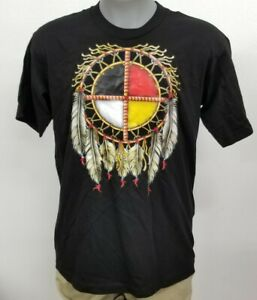 Native American Medicine Wheel Black 100% Cotton Men's S S Shirt New Choose Size