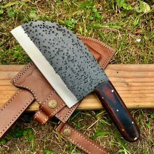 Custom Hand Made 1095 Steel Chef Clever knife Kitchen use With leather C29