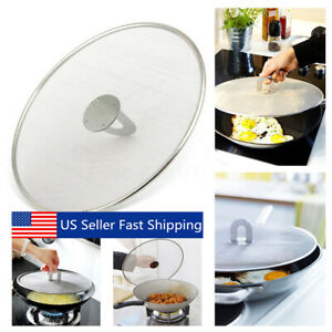 Practical Kitchen Frying Pan Splatter Screen Stainless Steel Oil Proofing Lid US