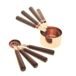 4pcs Measuring Cups Spoons Set Wood Handle Stainless Steel Plated Copper #vi