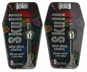 Joie Skull Wine Glass Charms Lot 2 Boxes of 6 Colored Markers Coffin Tin Metal