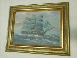 Antique T BAILEY Original Oil Painting on canvas Ship on the Ocean Framed $724.95