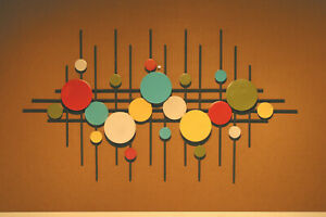 Abstract Metal Sculpture Metal Wall Art Mid Century Modern Retro Color  $219.99