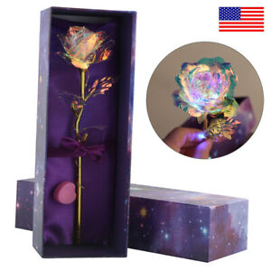 Romantic Gold Foil Rose Flower Valentine's Day Lovers' Anniversary + Gift Box US