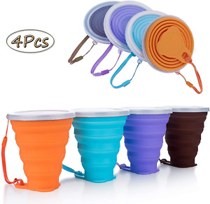 Silicone Collapsible Travel Cup Folding Camping Cup with Lids Silicone Mug Porta