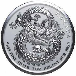 LUCKY DRAGON 2018 1 oz Pure Silver High Relief Coin in Capsule Canada RCM
