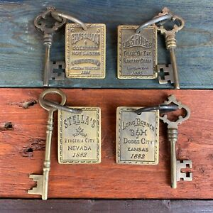 4 Solid Brass Brothel Keys W Tags amp; Antique Finish Old West Collectible $34.99