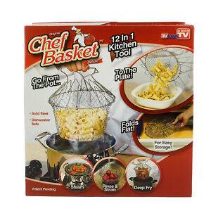Original Chef Basket 12 in 1 Kitchen Tool! Steam, Rinse, Fry Knife not Included