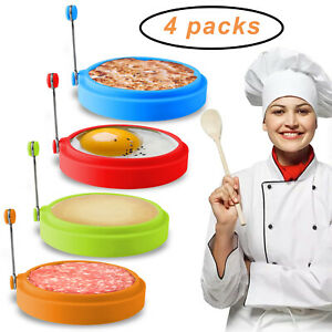 4pcs Non-Stick Fried Egg Rings Shaper Silicone Pancake Rings Molds Cooking Tools