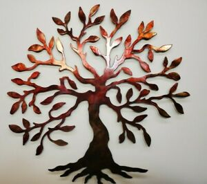 TREE OF LIFE Handmade hand painted METAL Wall Art REDS $40.00
