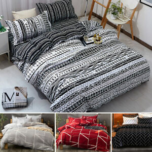 3Pcs Soft 100% Microfiber Duvet Cover Set Bohemia Striped Comforter Cover 4 Size