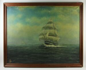 Lge Antique Clipper Ship oil Painting on Canvas Nautical 36 x 42