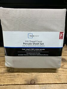 New FULL 100% Cotton Percale Sheet Set Mainstays 200 Thread Count 4 Pieces