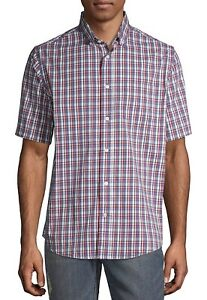 George Big Mens Button Down Poplin Short Sleeved Plaid Shirt 3XL New With Tags
