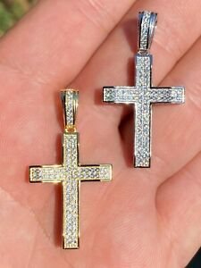 Solid 925 Sterling Silver 1quot; Iced Diamond Cross Pendant Gold Hip Hop Necklace $26.09