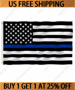 3x5#x27; ft USA Thin Blue Line Police Lives Matter Law Enforcement American US Flag