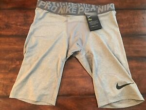 NIKE PRO Men L Large Gray Compression Long Under Shorts 838061 091 NEW $24.00