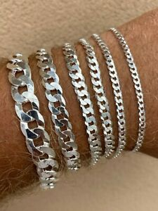 Real Solid 925 Sterling Silver Flat Curb Cuban Link Bracelet 3 10mm ITALY MADE $34.95