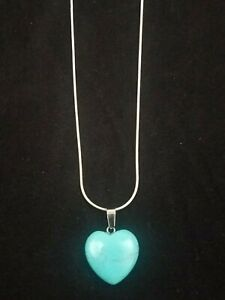 Turquoise Heart Necklace Gemstone Pendant on Sterling Silver Chain