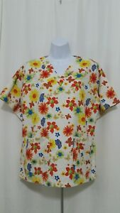 UA SCRUBS SMALL MULTI COLOR FLOWERS AND BUTTERFLIES SCRUB TOP EUC