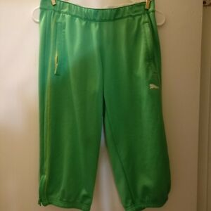 Puma gym shorts green S zipping pockets low rise workout weight lifting running $11.99