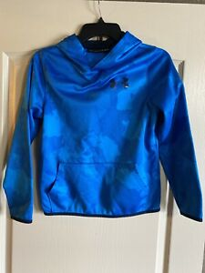 Under Armour Youth Boys Camo Blue Pullover Hoodie YLG Large L Loose Fit Coldgear $15.99
