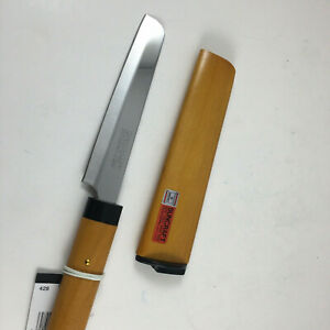 Kotobuki Japanese Kitchen Cheese Knife Brown Wood Handle Cover Made in Japan $13.95