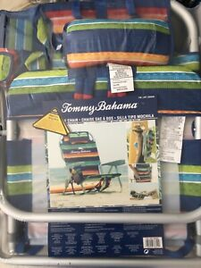 Tommy Bahama 5 Position  Backpack Beach Chair 2020 Green Blue Stripes NEW