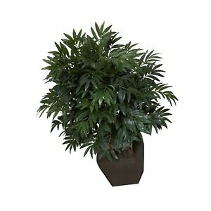 Nearly Natural 6718 35in. Double Bamboo Palm with Decorative Planter Silk Pla... $141.99
