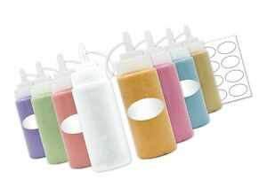 8-Pack Plastic Squeeze Squirt Bottles for Condiments with Caps and Measuremen...