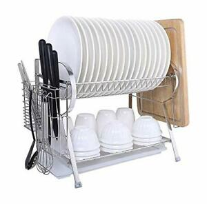 MICOE Stainless Steel Dish Drain Drying Rack with Cutting Board Holder 2 Tier La