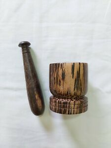 Mortar And Pestle Made With Kithul Wood Small And Strong Easily Moved Around