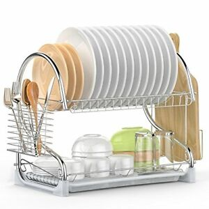 Dish Drying Rack, iSPECLE 2 Tier Dish Rack with Utensil Holder, Cutting Board...