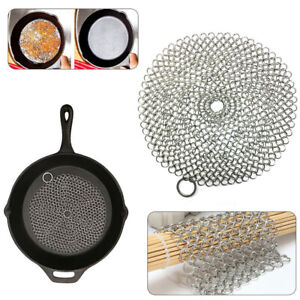 Stainless Steel Cast Iron Pot Cleaner Chain Mail Scrubber Cookware High Quality